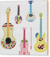 Various Kinds Of Stringed Instruments Wood Print