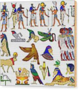Various Themes Of Ancient Egypt Wood Print