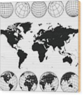 Various views of the world as a globe, and on flat surface  Wood Print