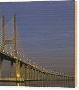 Vasco Da Gama Bridge In The Moonlight Wood Print