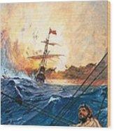 Vasco Da Gama's Ships Rounding The Cape Wood Print