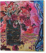 Vase And Blue Curtain Wood Print