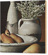 Vase Bowl Pears Wood Print