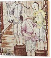Vase Depicting Men Packing Tea Wood Print