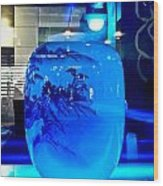 Vase Impression Bluish Wood Print