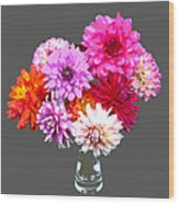 Vase Of Bright Dahlia Flowers Posterized Wood Print