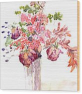 Vase Of Dried Flowers Wood Print