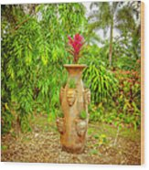 Vase's Faces Wood Print