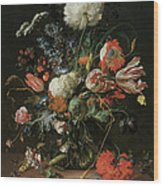 Vase Of Flowers Wood Print by Jan Davidsz De Heem