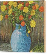 Vase Of Marigolds Wood Print