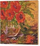 Vase Of Poppies Wood Print by Barbara Pirkle