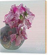 Vase Of Pretty Pink Sweet Peas 2 Wood Print