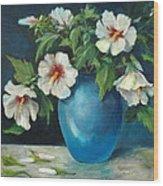 Vase Of Rose Of Sharons Wood Print by Jolyn Kuhn