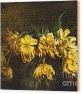 Vase Of Yellow Tulips Wood Print