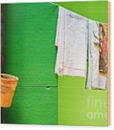 Vase Towels And Green Wall Wood Print