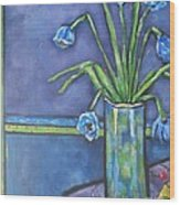 Vase With Blue Flowers And Cherries Wood Print