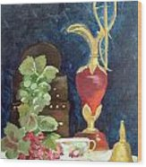 Vase With Grapes Wood Print
