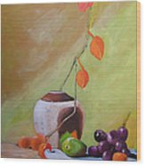 Vase With Orange Leaves And Fruit Wood Print