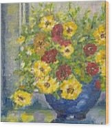 Vase With Yellow Flowers Wood Print