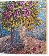 Vased Spring Lilies Wood Print