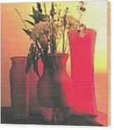 Vases And Flowers 1 Wood Print