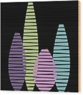 Vases On Black 2 Wood Print