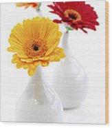 Vases With Gerbera Flowers Wood Print