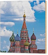 Vasily The Blessed Cathedral And The Red Square Of Moscow - Featured 3 Wood Print