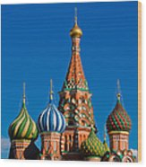Vasily The Blessed Cathedral On Moscow Red Square - Featured 2 Wood Print