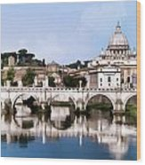 Vatican City Seen From Tiber River Wood Print
