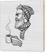 Vector Black And White Bearded Man With Wood Print