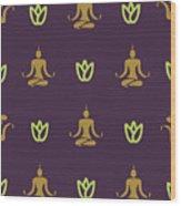 Vector Design Yoga Pose Pattern Wood Print