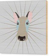 Vector Funny Head Of Dog On Vintage Wood Print