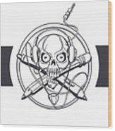 Vector Illustration Of A Black Skull Wood Print