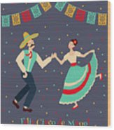 Vector Illustration Of Happy Dancing Wood Print
