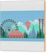 Vector Illustration Poster Amusement Wood Print
