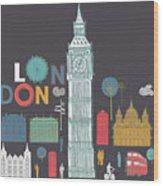 Vector London Symbols Wood Print