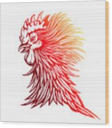 Vector Red Rooster Head Illustration Wood Print