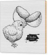 Vector Vintage Hand Drawn Chicken Baby Wood Print