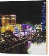 Vegas At Night Wood Print