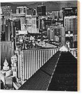 Vegas Black And White Wood Print