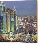 Vegas Skyline Wood Print
