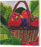 Veges Basket Wood Print