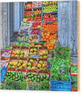 Vegetable And Fruit Stand Wood Print