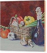 Vegetable Basket With Wine Vinegar Wood Print