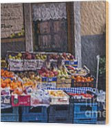 Vegetable Stand Italy Wood Print