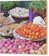Vegetable Vendor - Omkareshwar India Wood Print