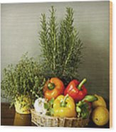 Vegetables And Aromatic Herbs In The Kitchen Wood Print