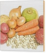 Vegetables And Supplement Pills Wood Print