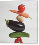 Vegetables Arranged In A Stack Wood Print